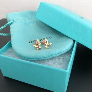 Olive Leaf 18k Yellow Gold Diamond Stud Earrings